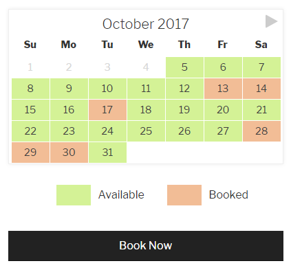 Checkfront Availability Calendar
