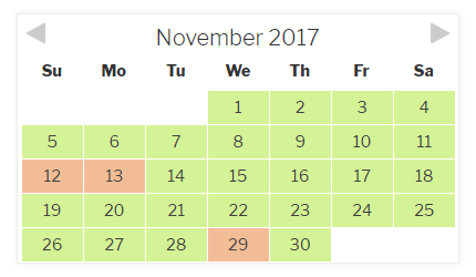 Checkfront Availability Calendar - Item 1