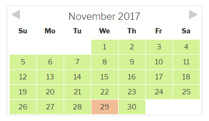 Checkfront Availability Calendar - Items 1 & 2 Combined