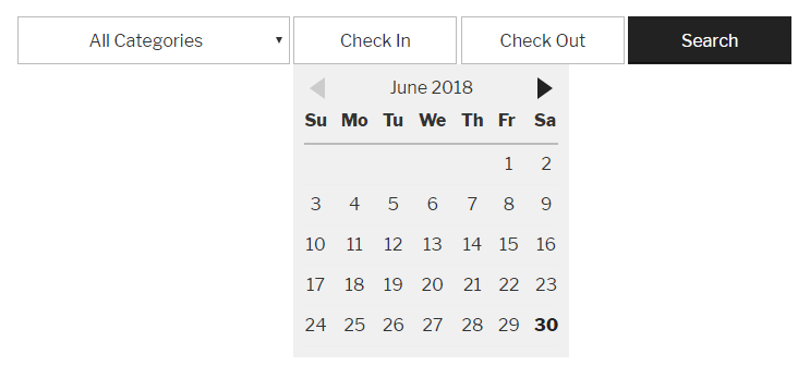 Checkfront Date and Category Search Datepicker